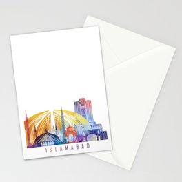 Islamabad skyline landmarks in watercolor Stationery Cards