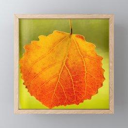 Orange Leaf Vivid Green Background #decor #society6 #buyart Framed Mini Art Print