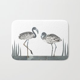 Flamingos in Silvery Blue Bath Mat