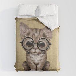 Cute Brown Tabby Kitten Wearing Eye Glasses Comforters
