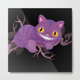 Cheshire Cat Mischevious Grin Cat / Purple Wonderland Alice  Metal Print