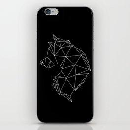 Geometric Wolf (White on Black) iPhone Skin