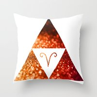 aries Throw Pillows featuring Aries by haroulita