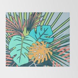 Tropical leaves blue Throw Blanket