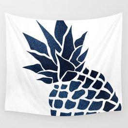Pineapple, Big Blue, Denim Navy Wall Tapestry