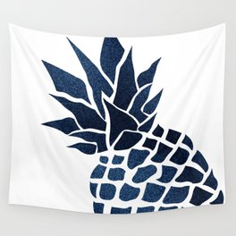 Pineapple, Big Blue, Denim Navy Wall Tapestry