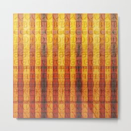 Pattern with the alphabet and hot colors in stripes Metal Print