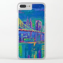 New York City Night Lights - palette knife painting urban Brooklyn bridge skyline Clear iPhone Case