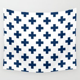 Navy Blue Plus Sign Pattern Wall Tapestry