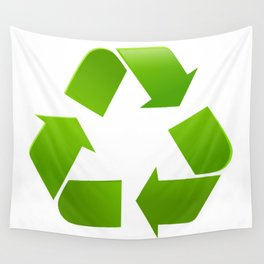 Green Recycle symbol on white background Wall Tapestry
