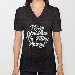 Vintage Distressed Merry Christmas Ya Filthy Animal Unisex V-Neck