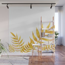 Golden watercolor leaves Wall Mural