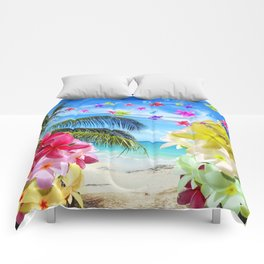 Tropical Beach and Exotic Plumeria Flowers Comforters