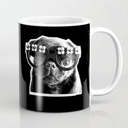 PUG SUKI - FLORAL SPECS - BLACK AND WHITE Coffee Mug
