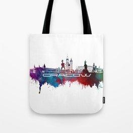 Cracow skyline city blue Tote Bag