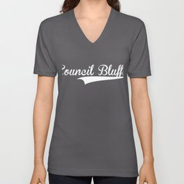 COUNCIL BLUFFS Baseball Vintage Retro Font Unisex V-Neck