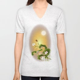lotus_vector draw Unisex V-Neck