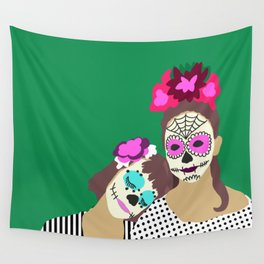 Sugar Skull Halloween Girls Green Wall Tapestry