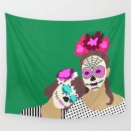 Sugar Skull Halloween Girls Green Wall Tapestry