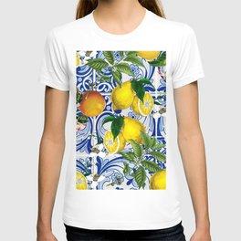 Mediterranean Lemon on Blue Ceramic Tiles  T-shirt