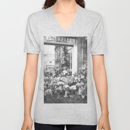 Paris, France Flower Shop-Boutique Fleurs black and white photograph Unisex V-Neck