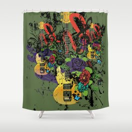 Grunge Guitar Illustration Shower Curtain