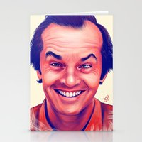 jack nicholson Stationery Cards featuring Young Jack Nicholson and the evil smile - digital painting by Thubakabra