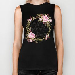 Crazy Plant Lady - Floral wreath Botanical Biker Tank