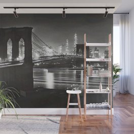 1940 Brooklyn Bridge Black and White City Night Scene Photograph Wall Mural