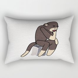 Sock Monkey Thinking Rectangular Pillow