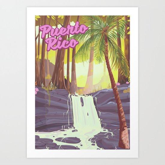 Puerto Rico rainforest travel poster by nicholasgreen