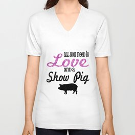 Youth SHOW PIG RaglanmGlittery sleeve Raglan All You Need is Love and a Show Pig Unisex V-Neck