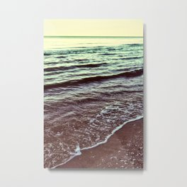 Green Ocean Waves Metal Print