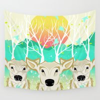 lama Wall Tapestries featuring Roots To Grow and Wings To Fly  (Three Deer New Dawn) by soaring anchor designs