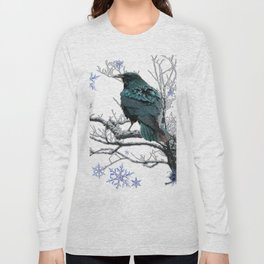 CROW/RAVEN IN WINTER TREE & SNOWFLAKES Long Sleeve T-shirt
