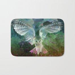 """Owl flight and spring night"" Bath Mat"