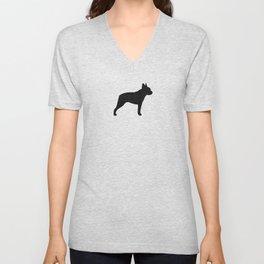 Boston Terrier Silhouette(s) Unisex V-Neck