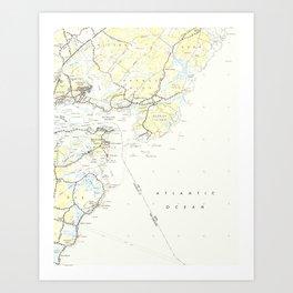 Vintage Map of Kittery Maine (1944) Art Print