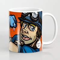steve rogers Mugs featuring Steve Rogers, The Fist Avenger by Randy Meeks