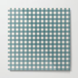 Buffalo Check Plaid in Teal and Cream Metal Print