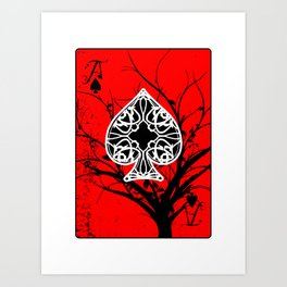 Red and Black Grunge Tree Ace of Spades Art Print