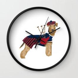Airedale Terrier Bagpiper dog welsh terrier dog tartan dog funny dog illustration Wall Clock