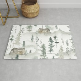 Winter scene houses and trees pattern Rug
