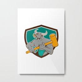 Minotaur Wielding Sledgehammer Shield Cartoon Metal Print