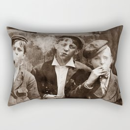 Newsboys Smoking - 1910 Child Labor Photo Rectangular Pillow