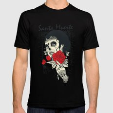 Santa muerte Rose Mens Fitted Tee Black X-LARGE