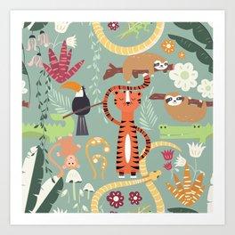 Rain forest animals 001 Art Print