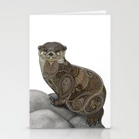 otter Stationery Cards featuring Otter by ZHField