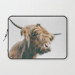 Majestic Highland cow portrait Laptop Sleeve