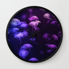 Blue and pink jellyfish Wall Clock